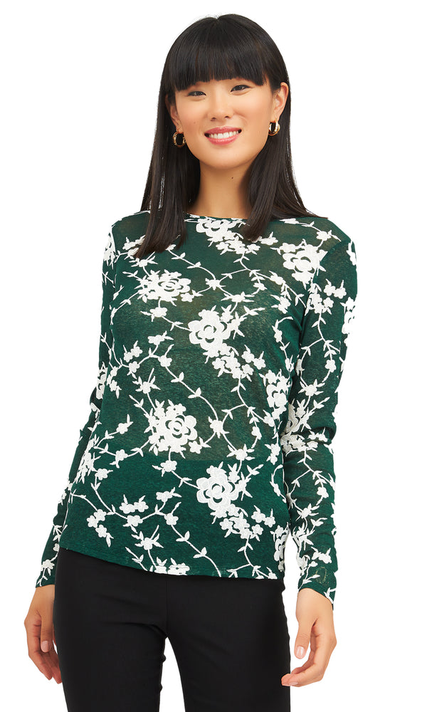 Flower Puff Print Top