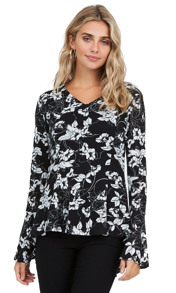 Printed Flutter Sleeve Fit & Flare Top