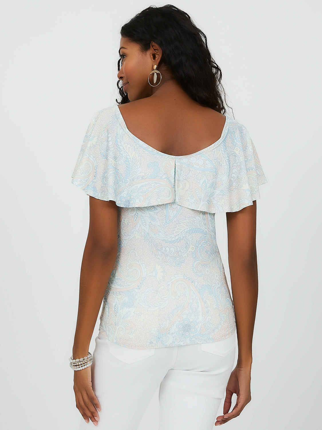 Sleeveless V-Neck Paisley Top