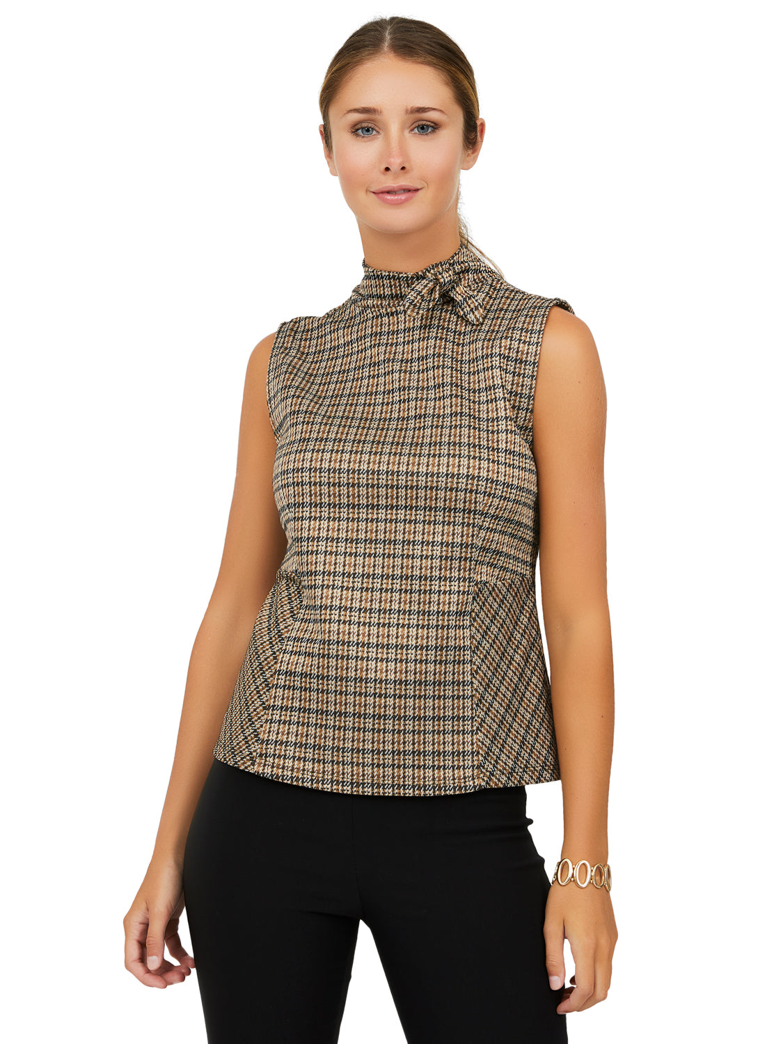 Sleeveless Checkered Jacquard Top