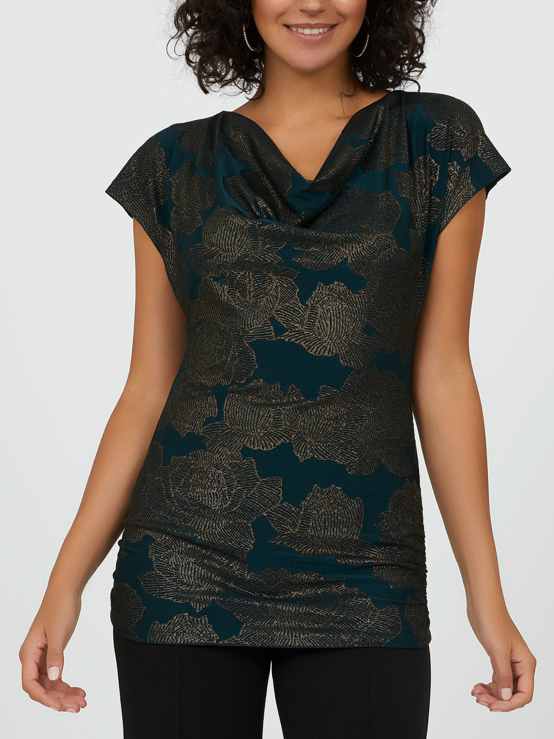 Short Sleeve Foil Print Cowl Neck Top