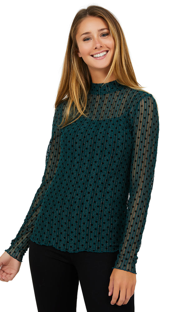Long Sleeve Mock Neck Mesh Top