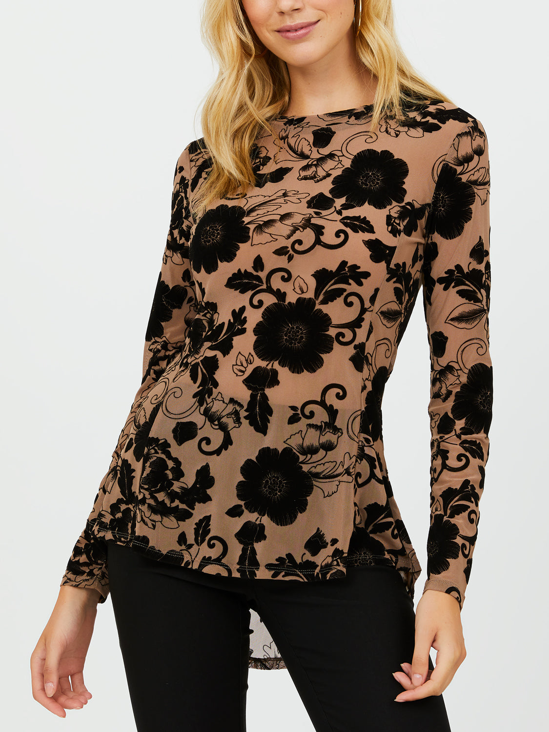 Long Sleeve Fit & Flare Crew Neck Top