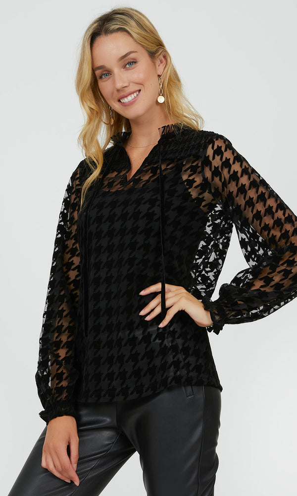 Mesh Sleeve Houndstooth Top