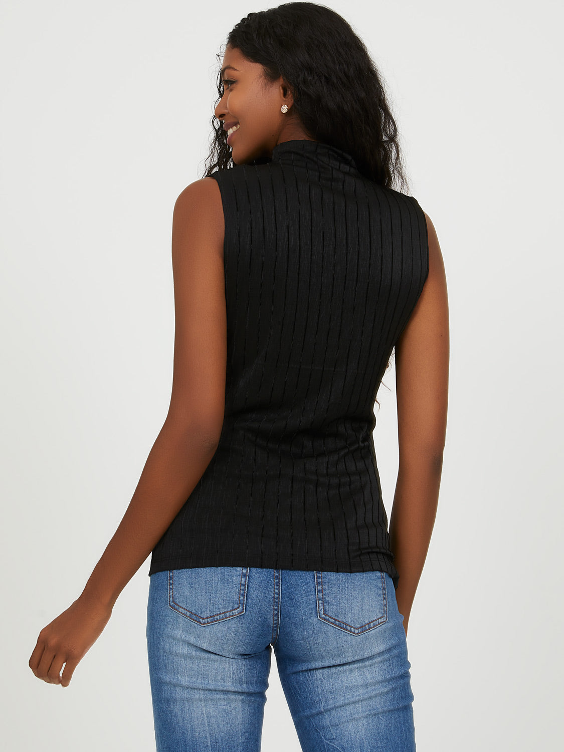 Sleeveless Pleated Velour Top