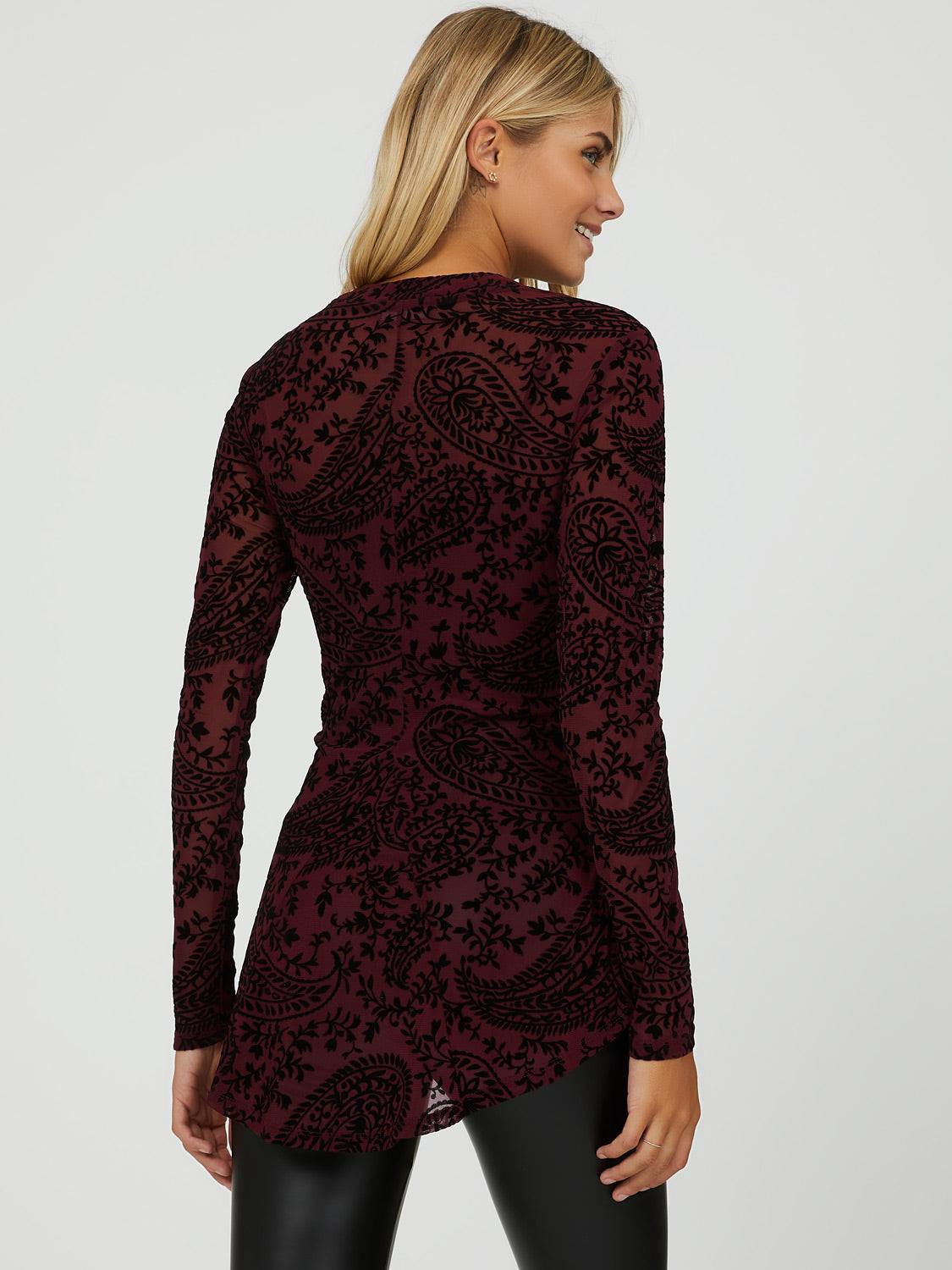 Paisley High Neck Fit & Flare Top