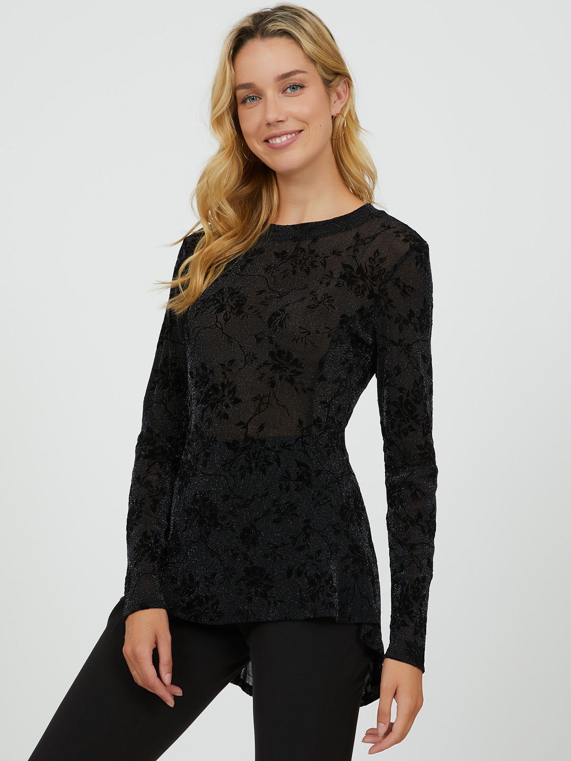 Glitter Mesh High Neck Fit & Flare Top