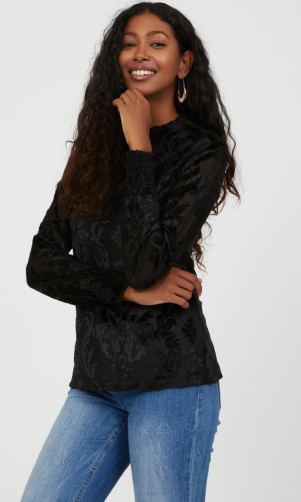 Baroque Glitter Velour Print Top
