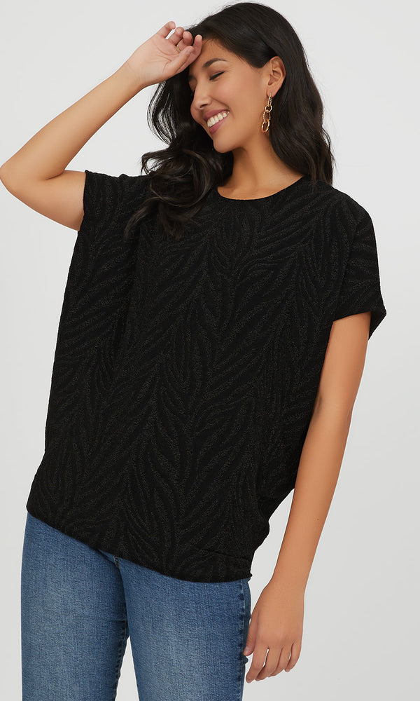 Metallic Jacquard Knit Top