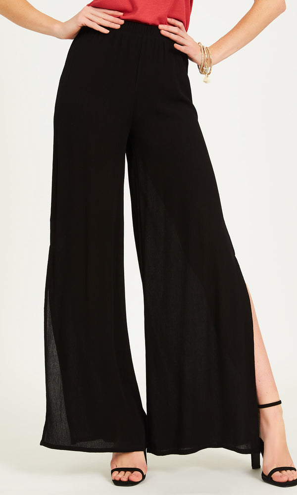 High Side Slit Wide Leg Pants
