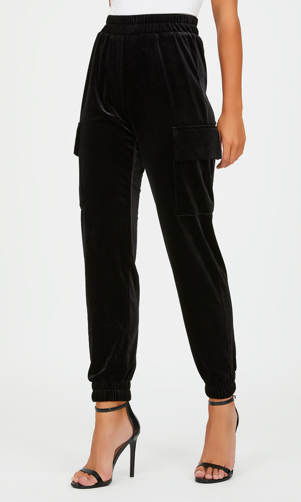 Pull-On Velour Cargo Pants