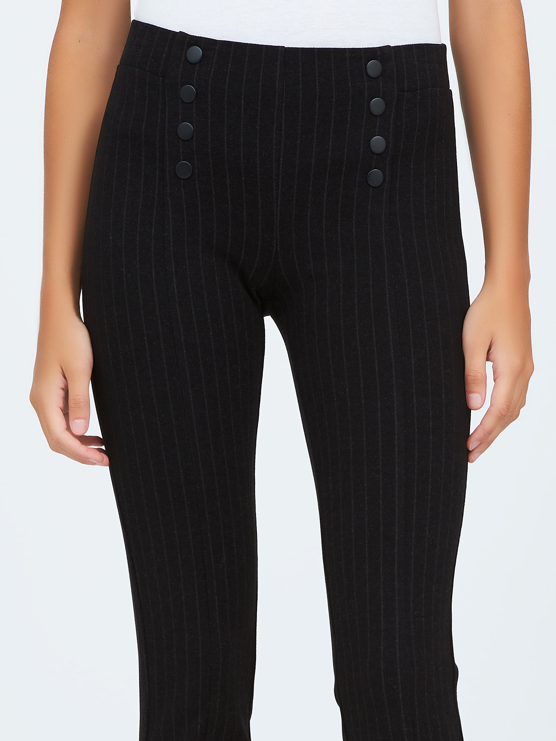 Striped Knit Pants With Decorative Buttons