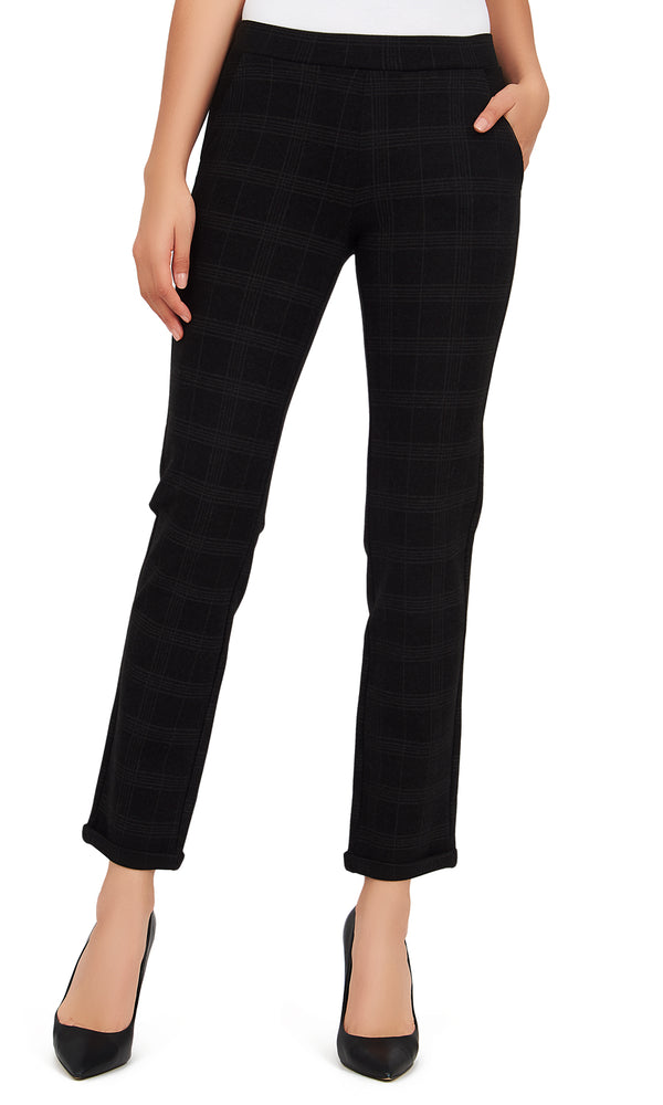 Cuffed Check Print Pants