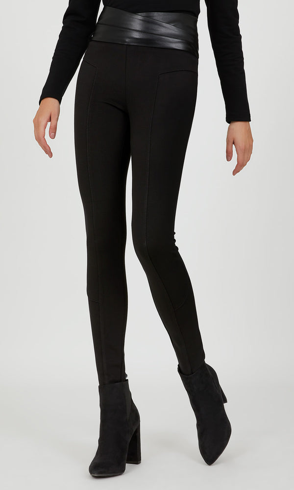 Faux Leather Waist Skinny Knit Pant