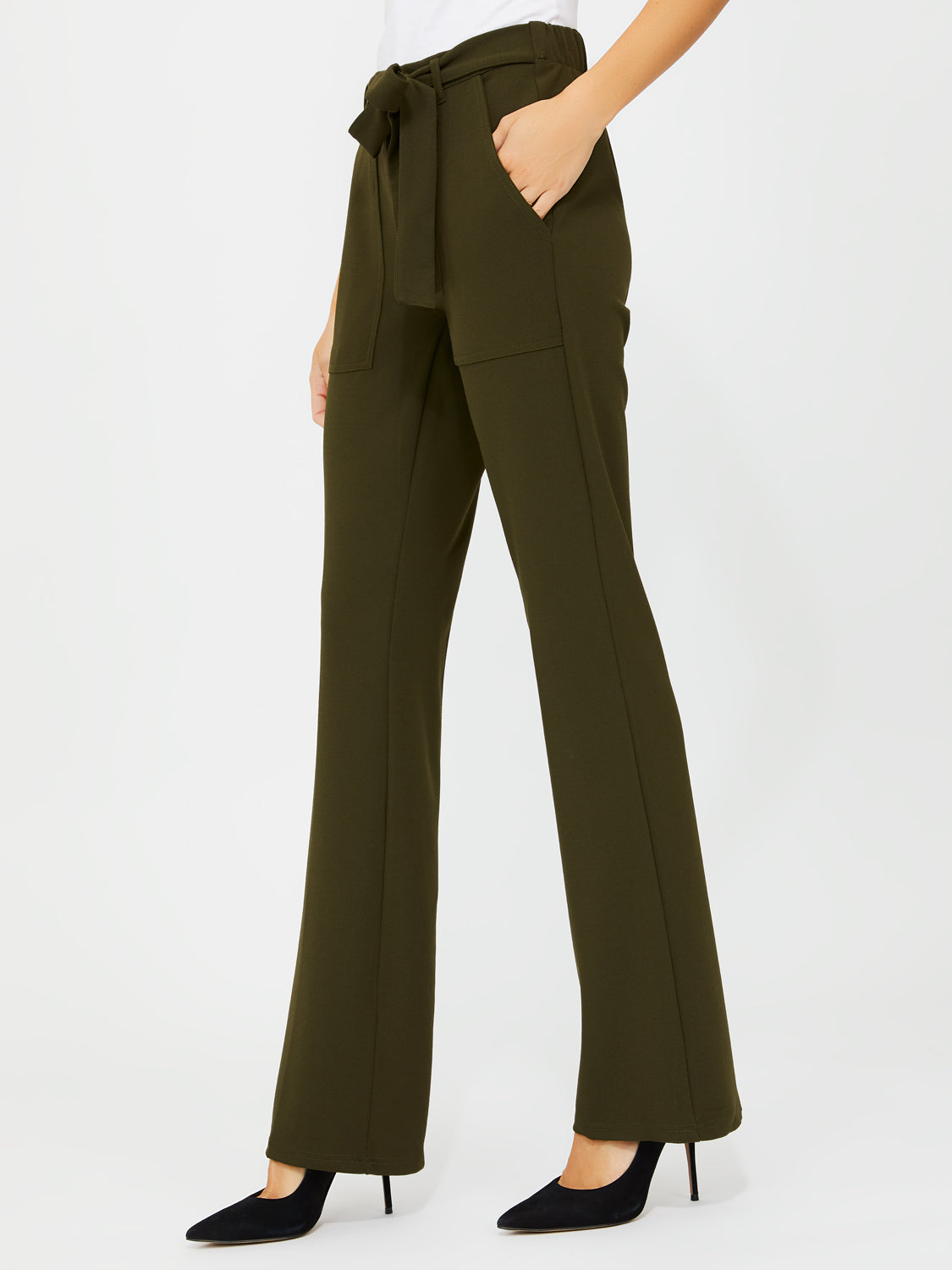 Knit Crepe Flared Pants With Sash Tie