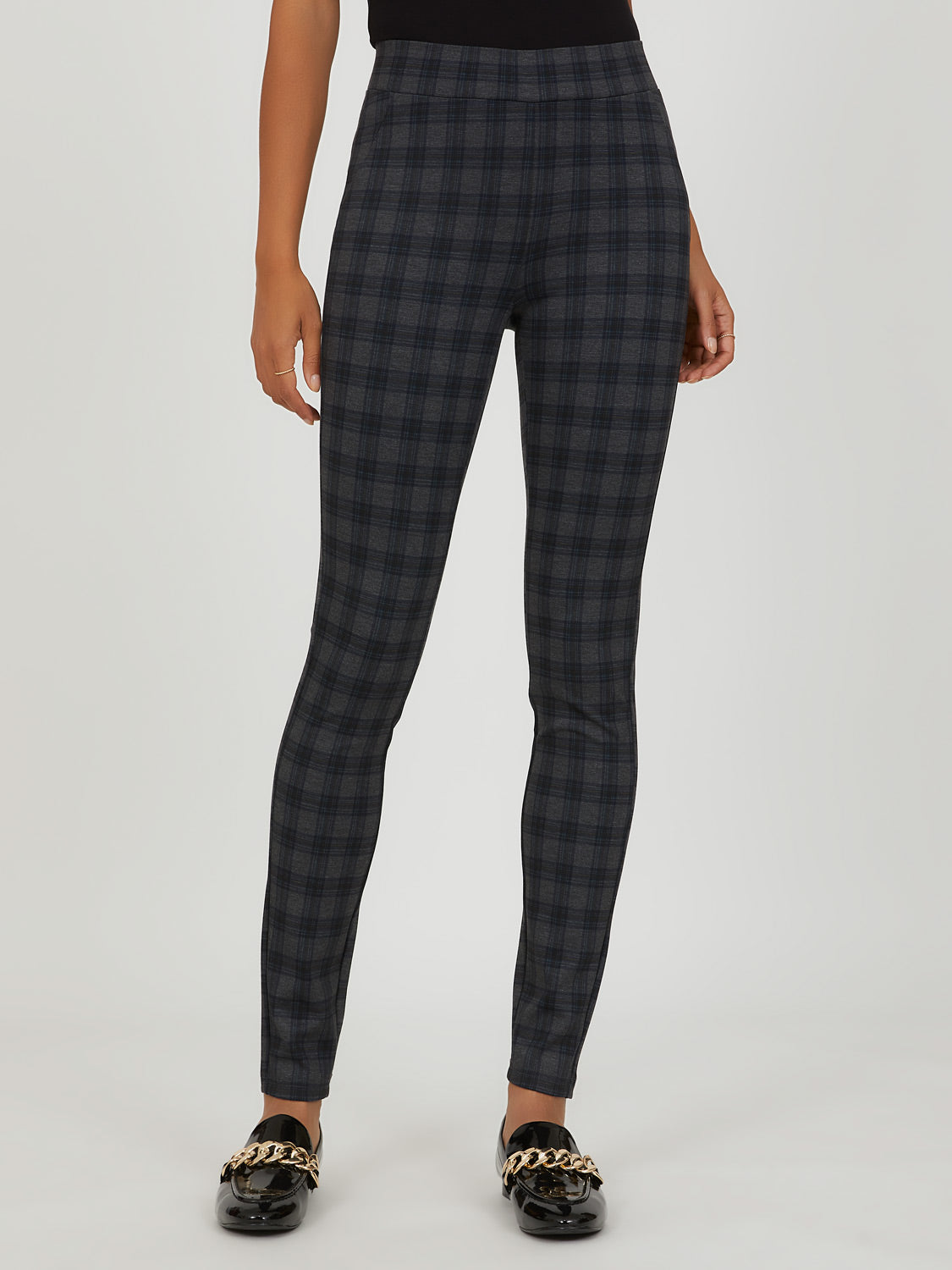 Plaid Knit Pull-On Pant