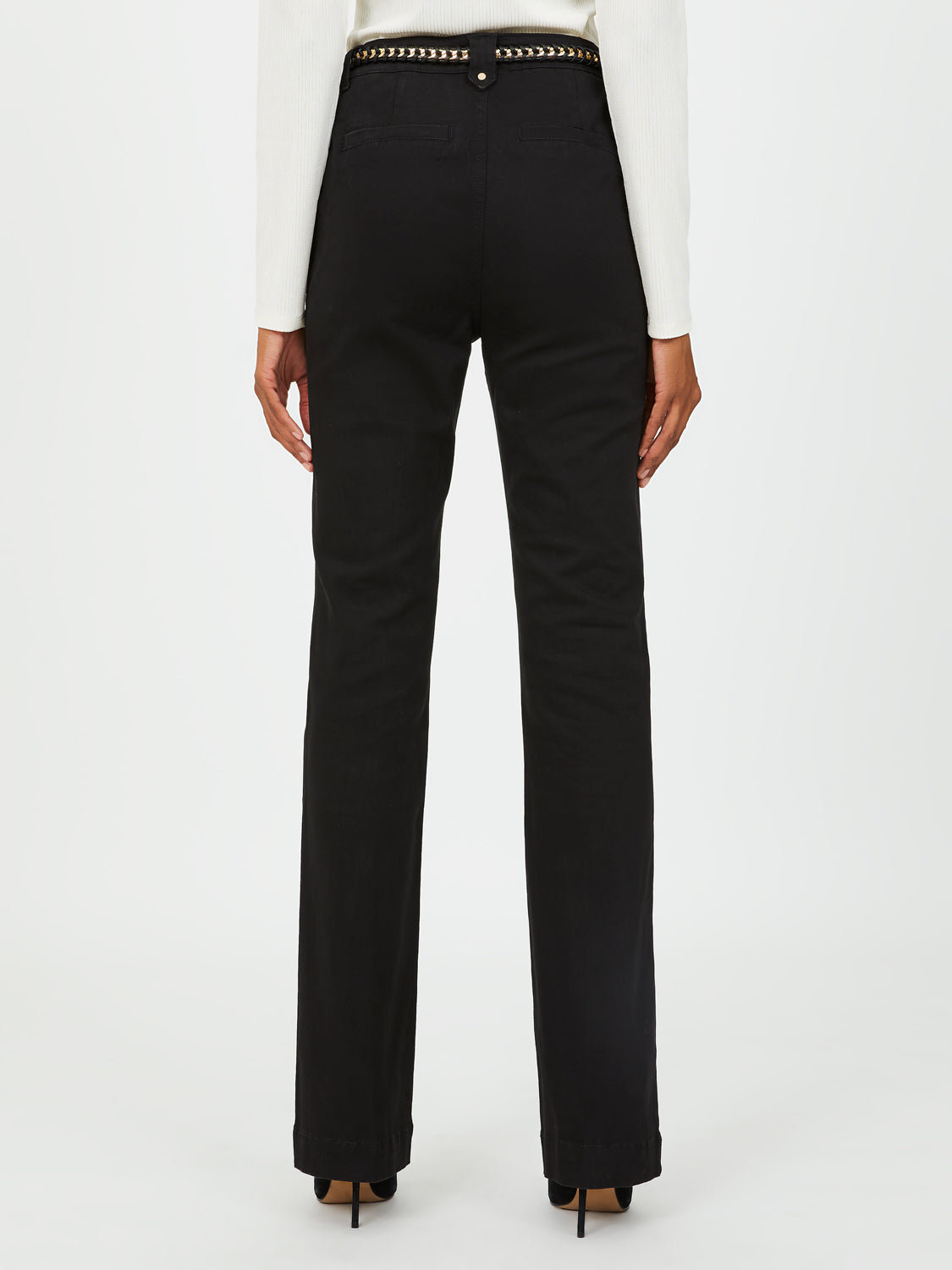 Chain Belt Bootcut Mid-Rise Trousers