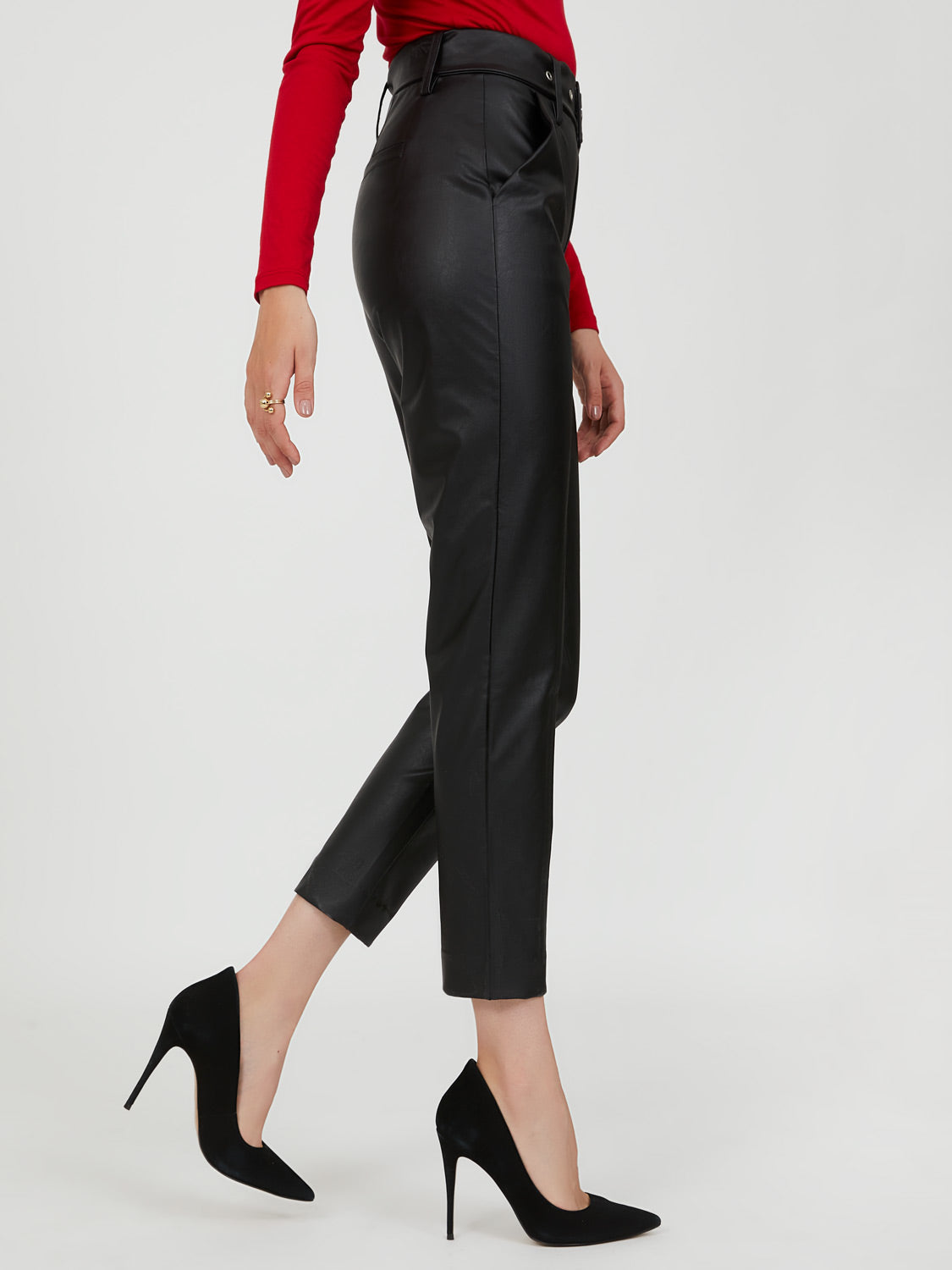 Belted Faux Leather Trouser