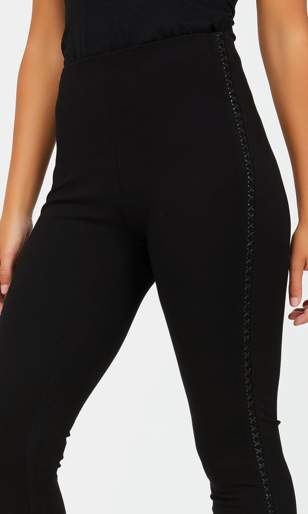 Faux Leather Side Details Leggings