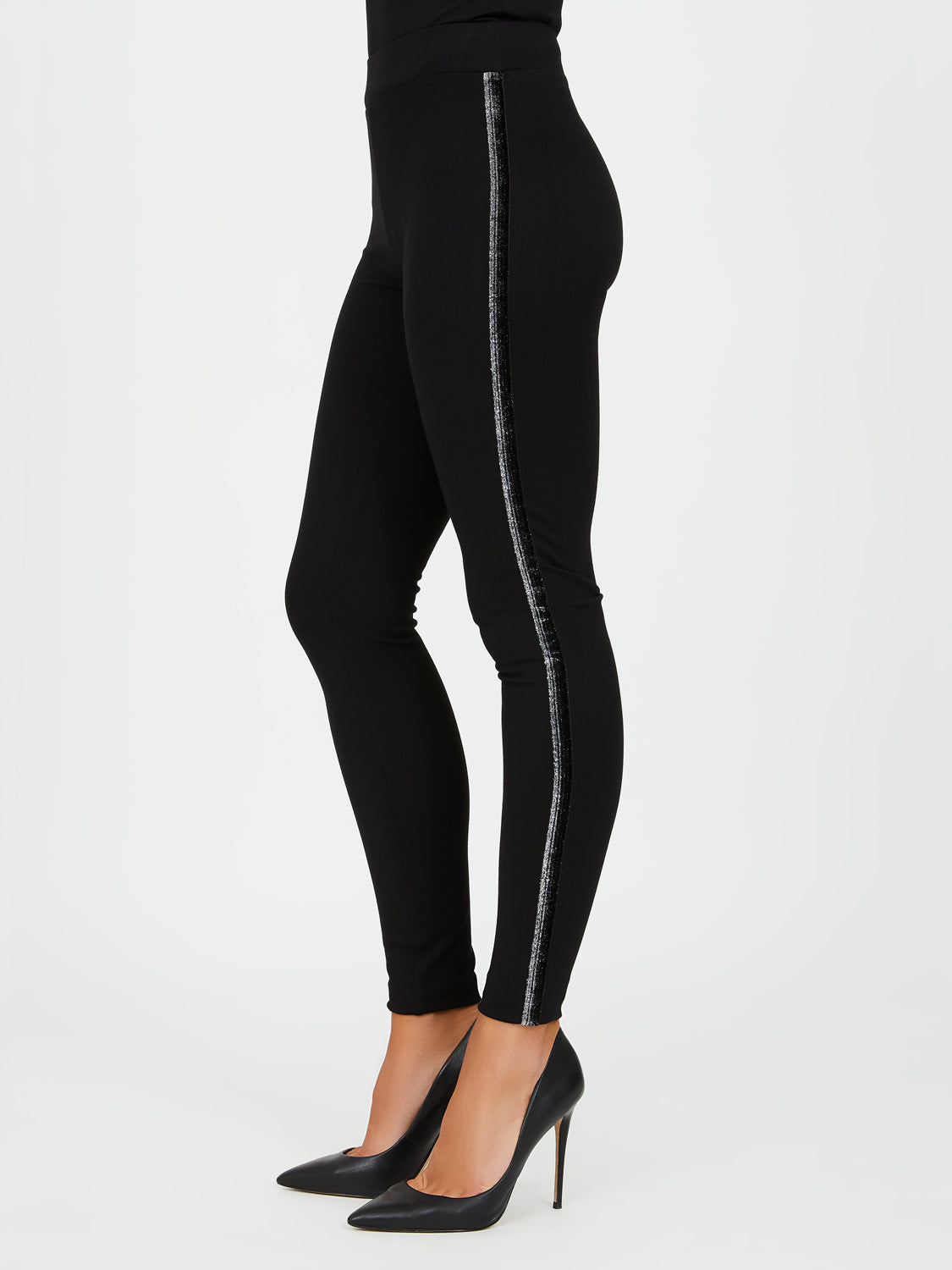 Metallic Side Details Leggings