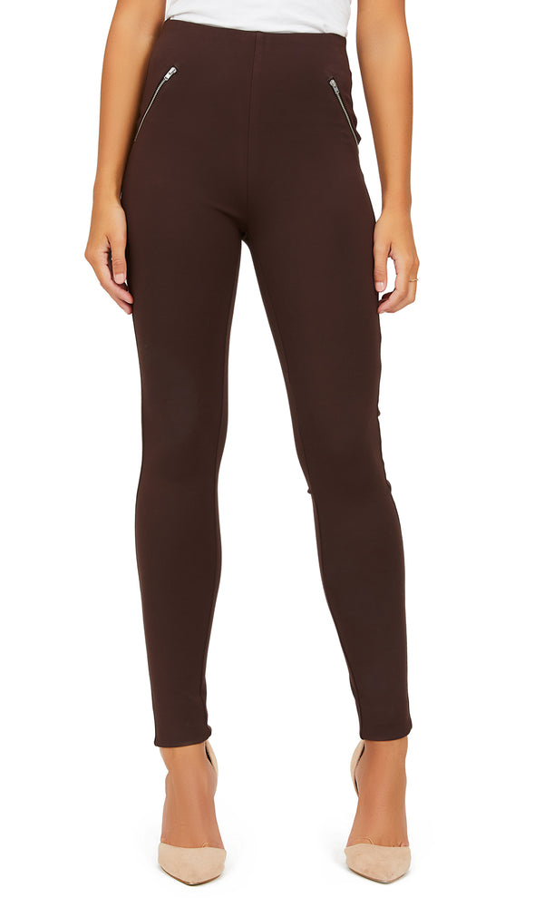 Pull-On Leggings With Decorative Zippers