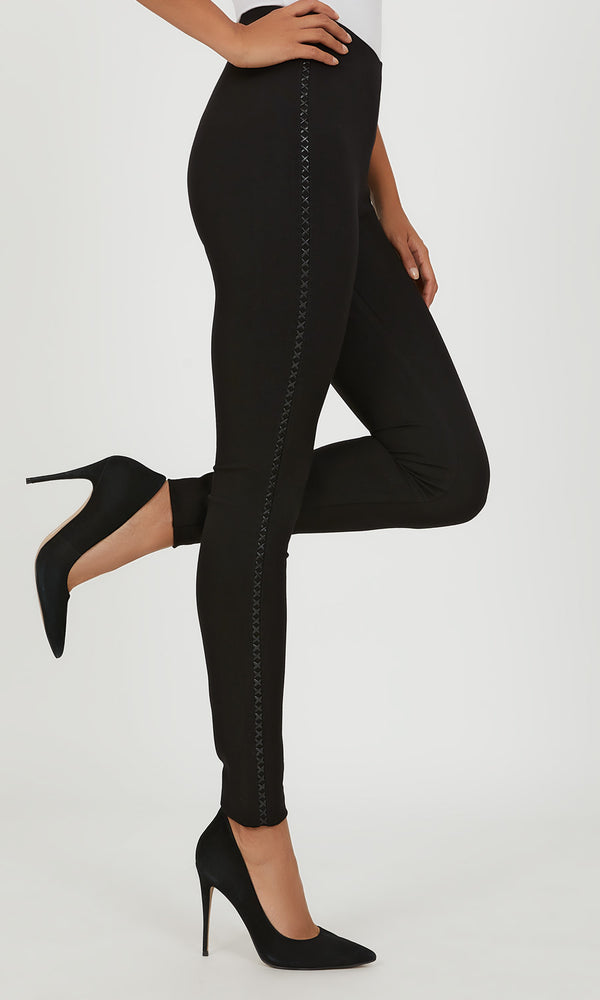Faux Leather Stripe Skinny Pant