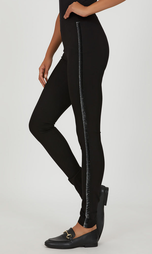 Metallic Stripe Skinny Pant