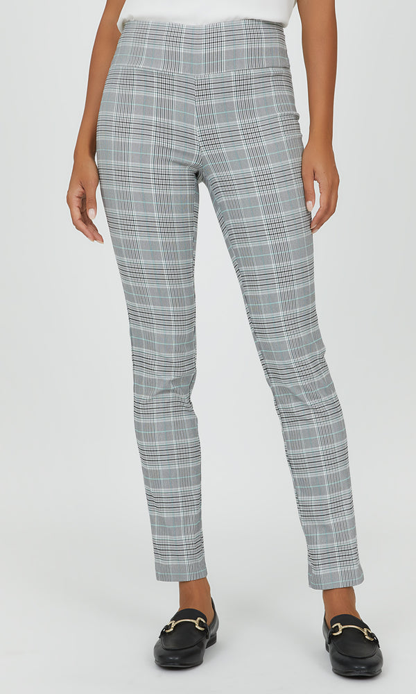 Pull-On Wide Waistband Plaid Pant