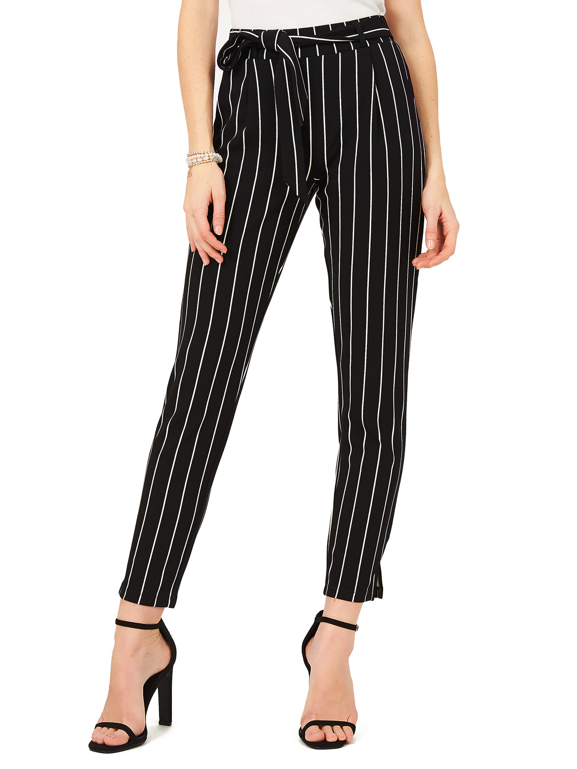 Striped Crepe Pleats and Sash Pant