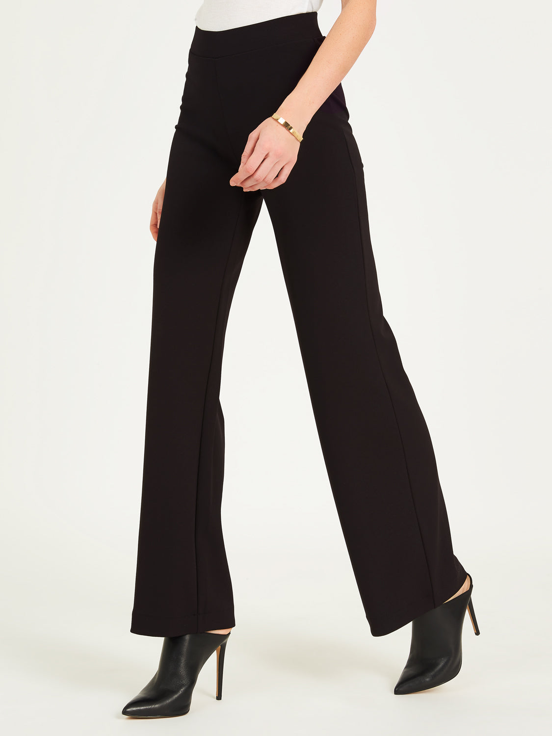 High Waist Crepe Wide Leg Pants