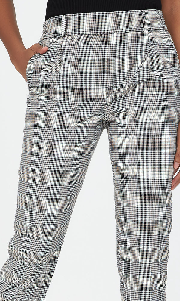 Cuffed Plaid Dressy Jogger