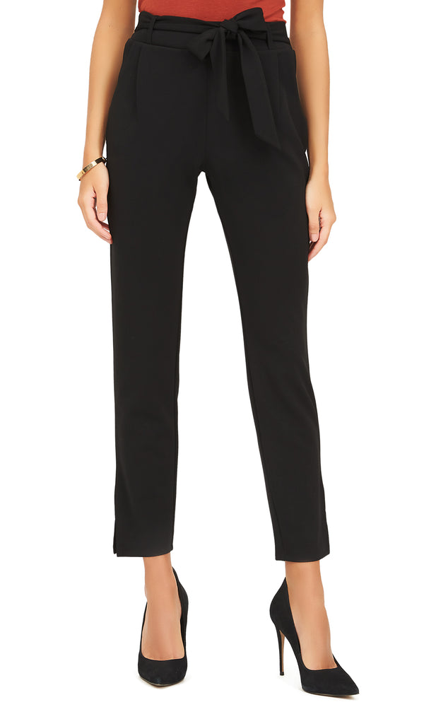 Crepe Ankle Pants With Sash Belt