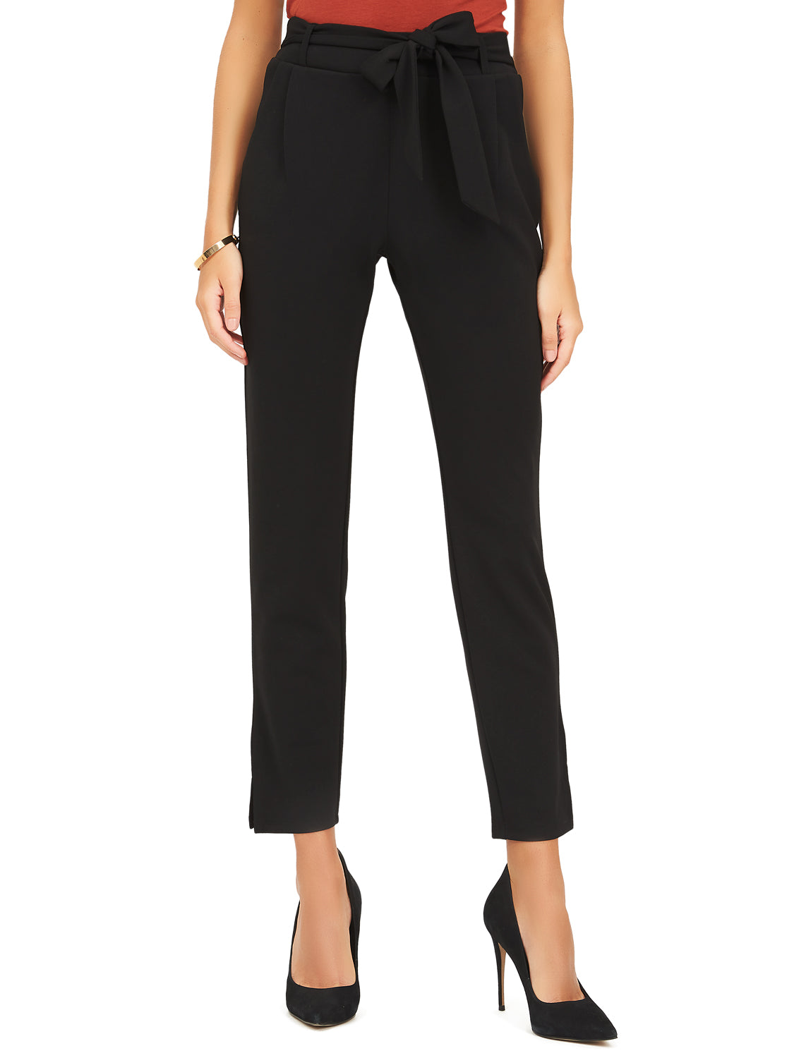 Crepe Ankle Pant With Sash Tie