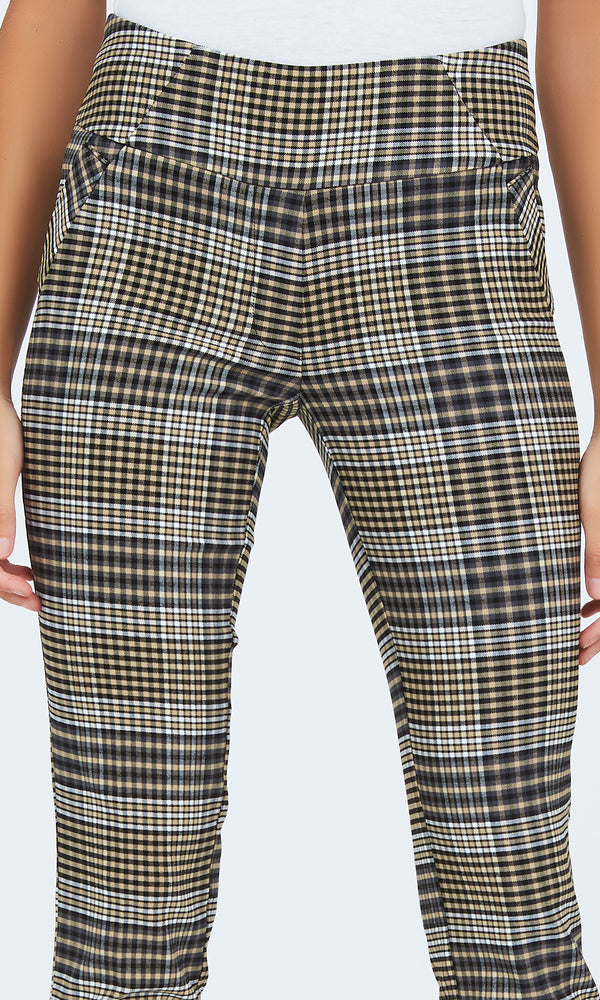 Plaid Wide Waistband Skinny Pants