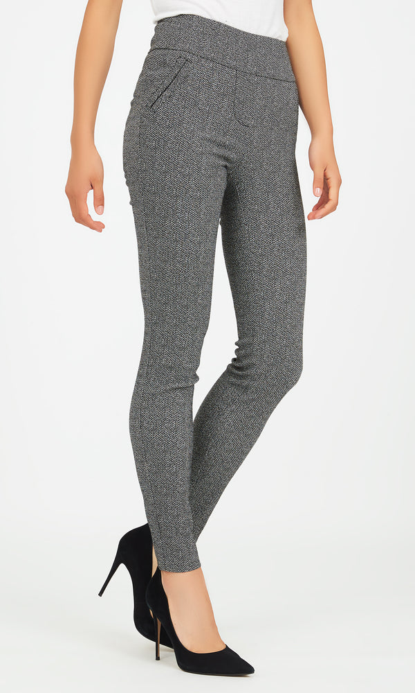 Jacquard Knit Wide Waistband Skinny Pants