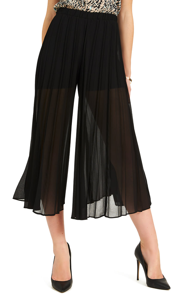 Pleated Chiffon Maxi Gaucho Pants
