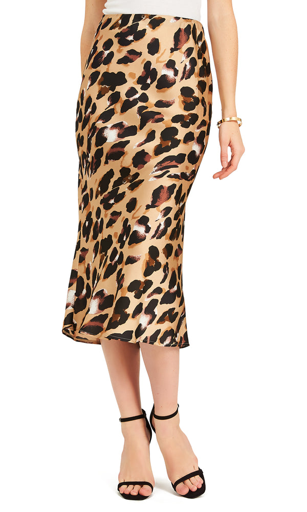 Leopard Print Satin Midi Pencil Skirt