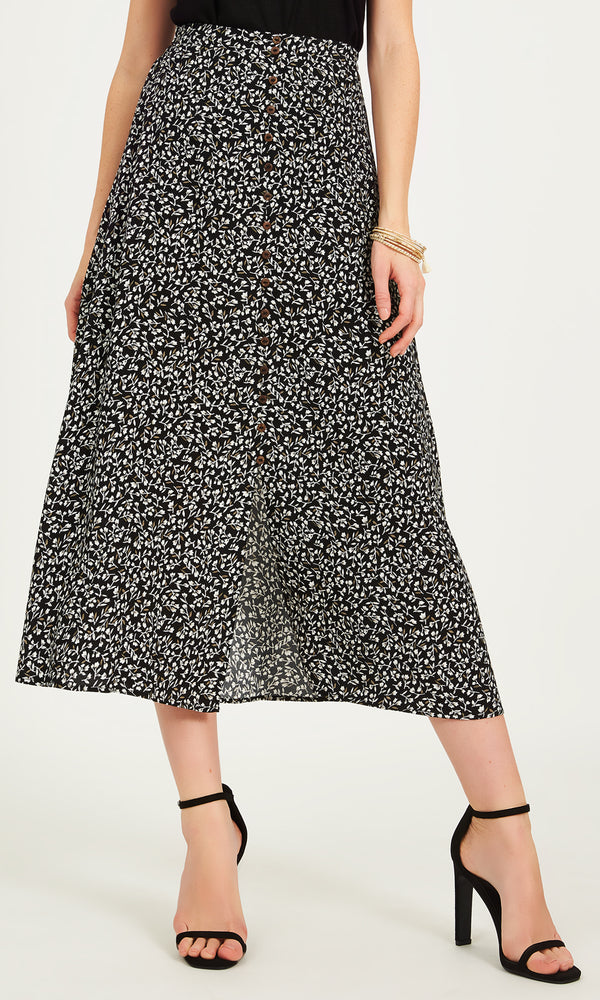 Printed Button-Down Maxi Skirt