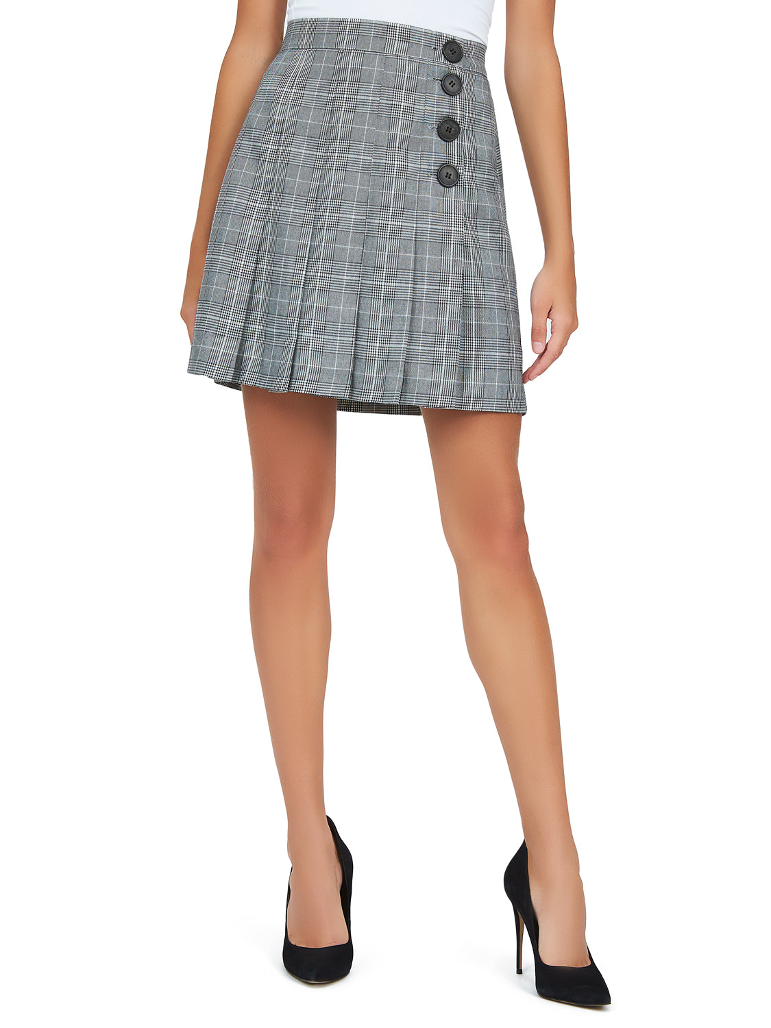 Front Pleats Plaid Skirt