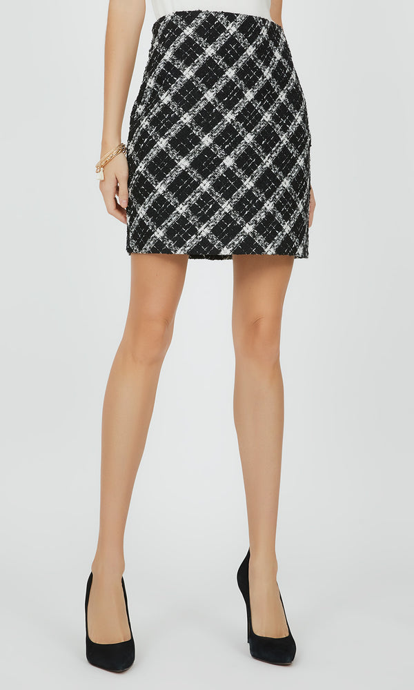Straight Bouclé Mini Skirt