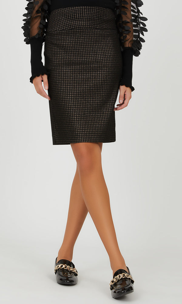 Houndstooth Midi Pencil Skirt