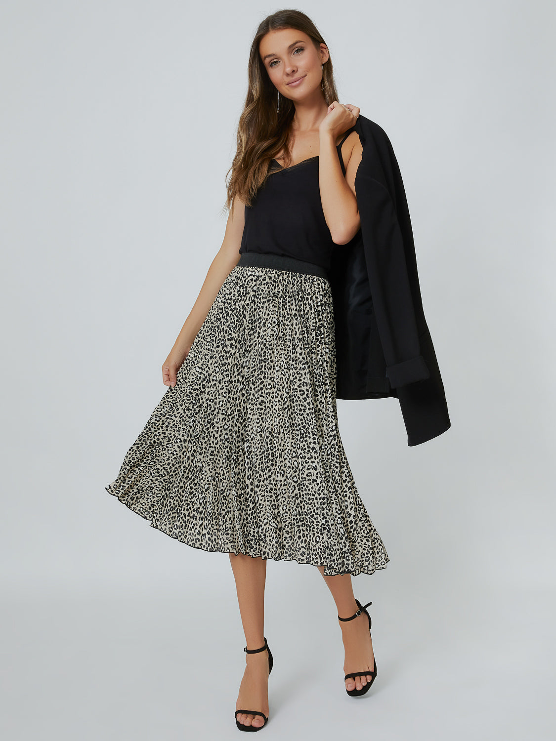 Stylish Pleated Leopard Print Midi Skirt