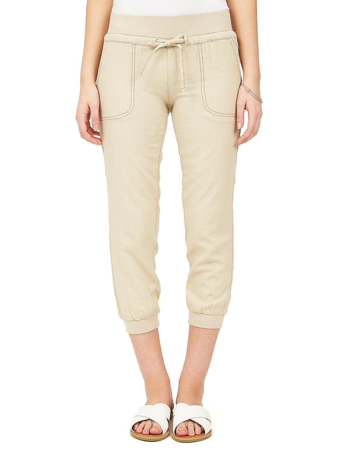 Pull-On Linen Capri Pants