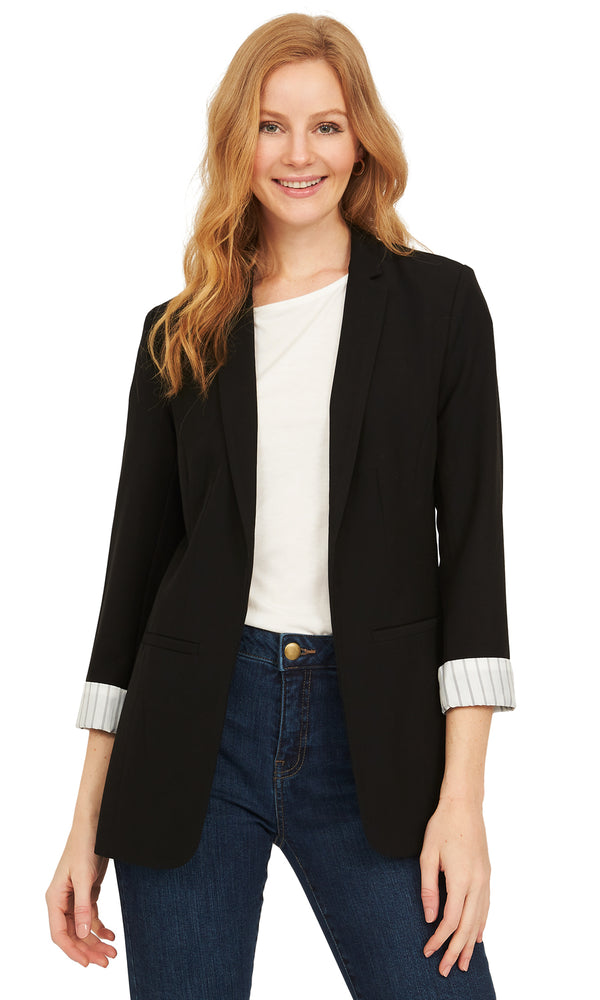 Woven Striped 3/4 Sleeves Blazer