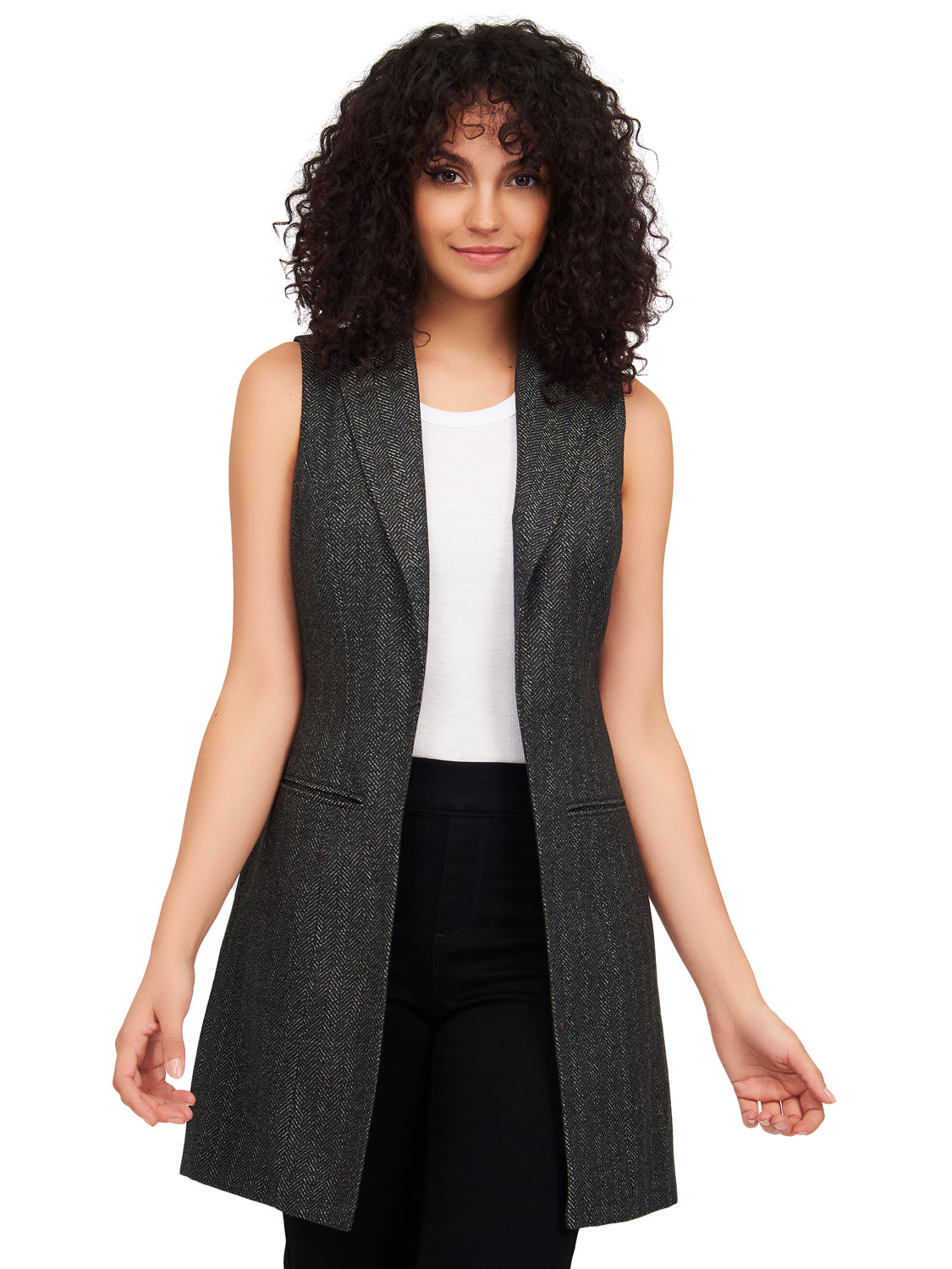 Notch Collar Sleeveless Herringbone Vest