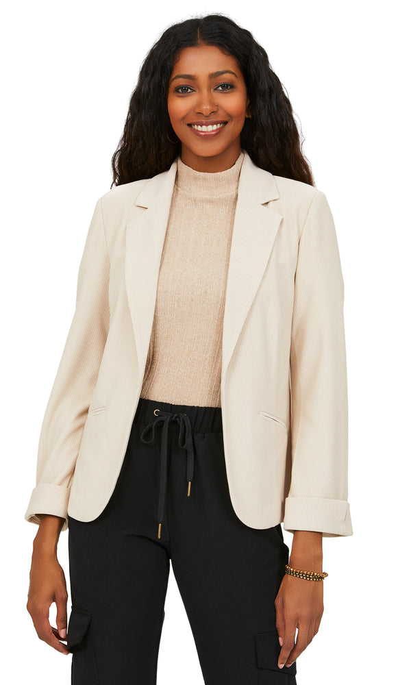 Knit Corduroy Notch Collar Blazer