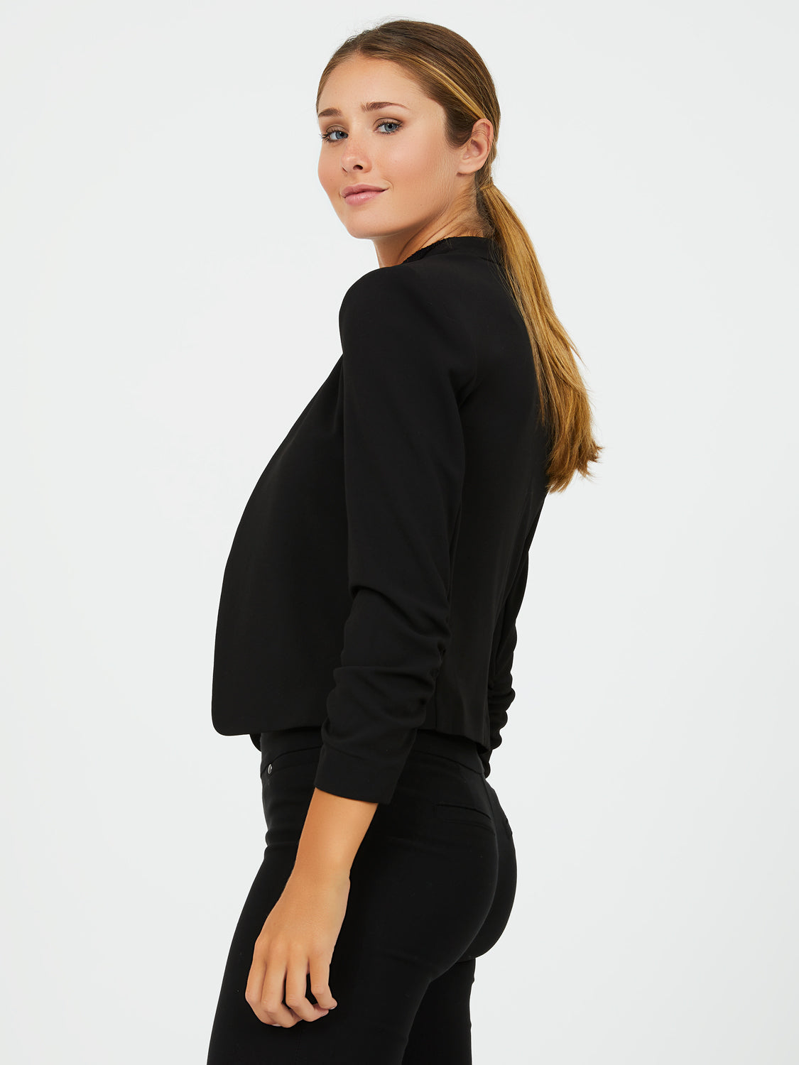 Unlined ¾ Ruched Sleeve Cropped Blazer