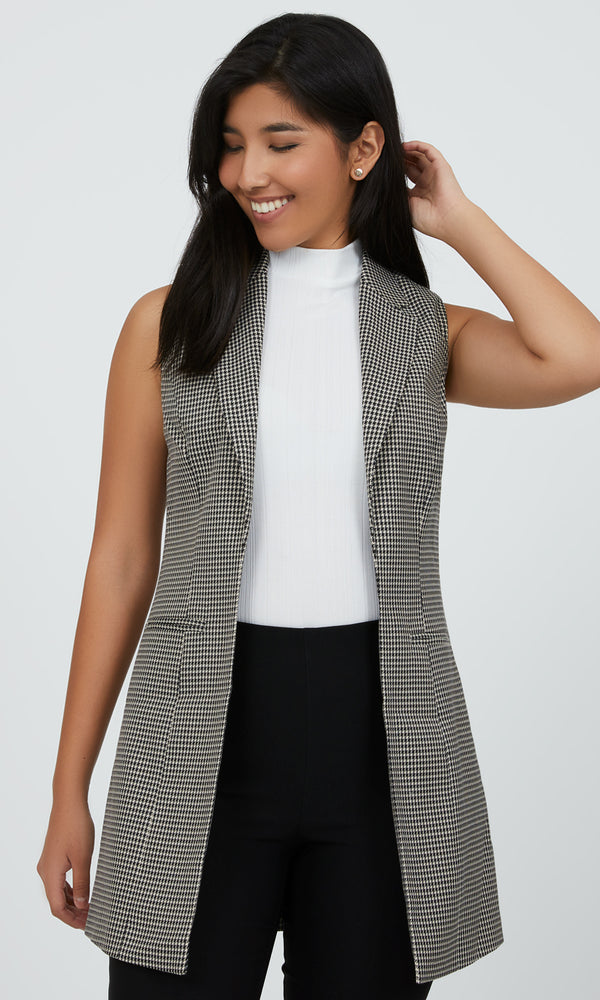 Sleeveless Houndstooth Notch Collar Vest
