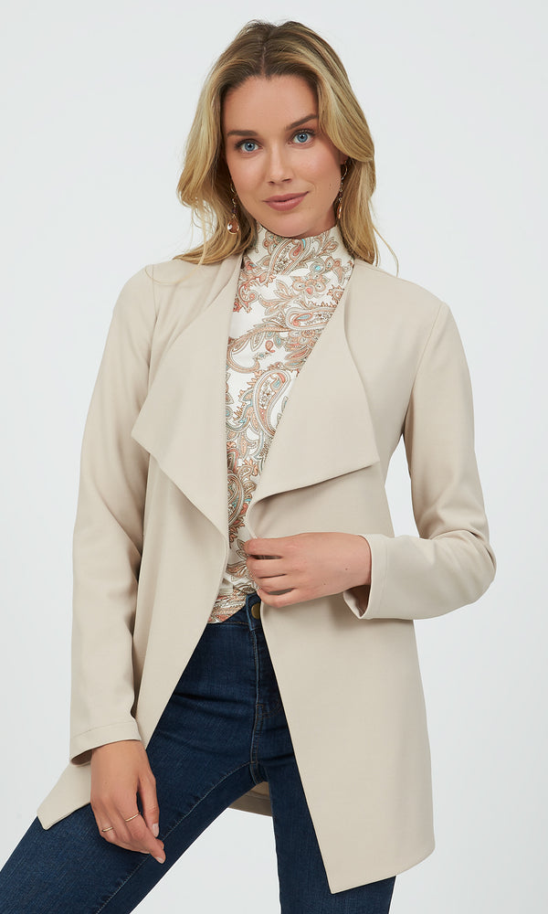 Long Sleeve Cascading Knit Blazer