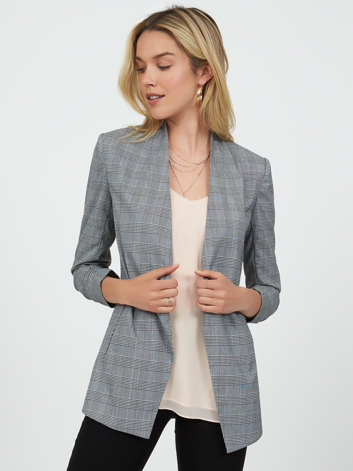 Ruched Sleeve Collarless Glen Check Blazer